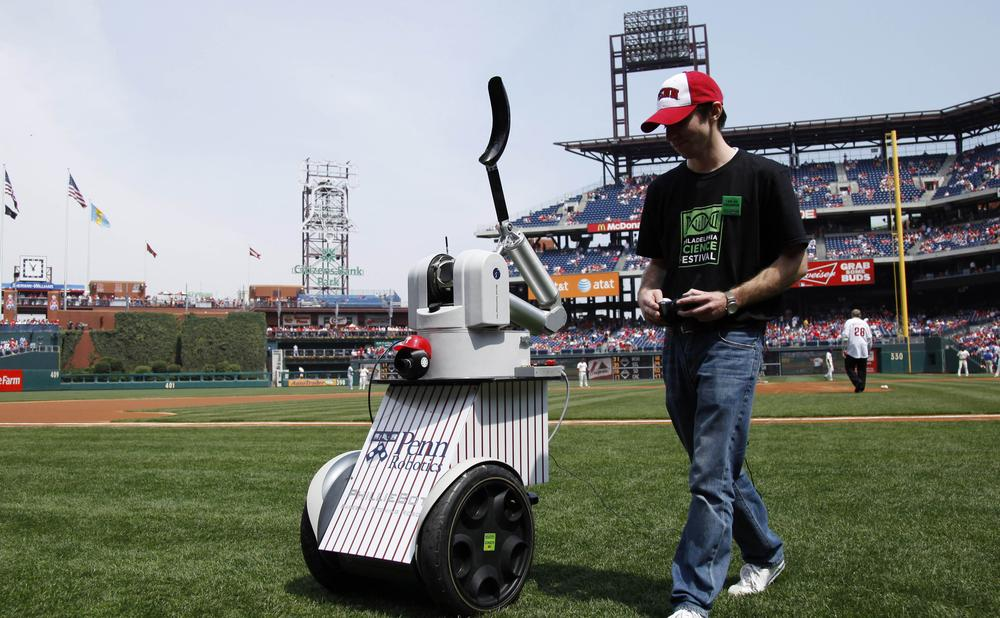"""""""Philly Bot"""" received a poor review from fans after failing to reach home plate. (AP)"""