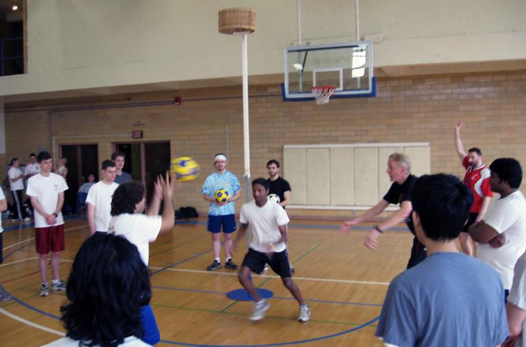 Players at Hamilton College's korfball tournament learn the fundamentals of the game. (Doug Tribou)