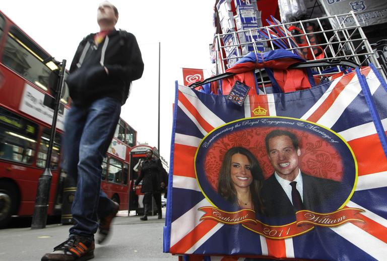 Shops all over London are displaying mementos from the upcoming royal wedding. (AP)