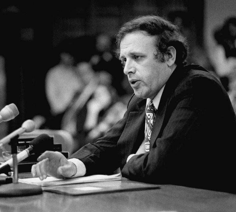 File photo of Massachusetts District Court Judge Samuel E. Zoll in 1978 at a legislative hearing (AP)