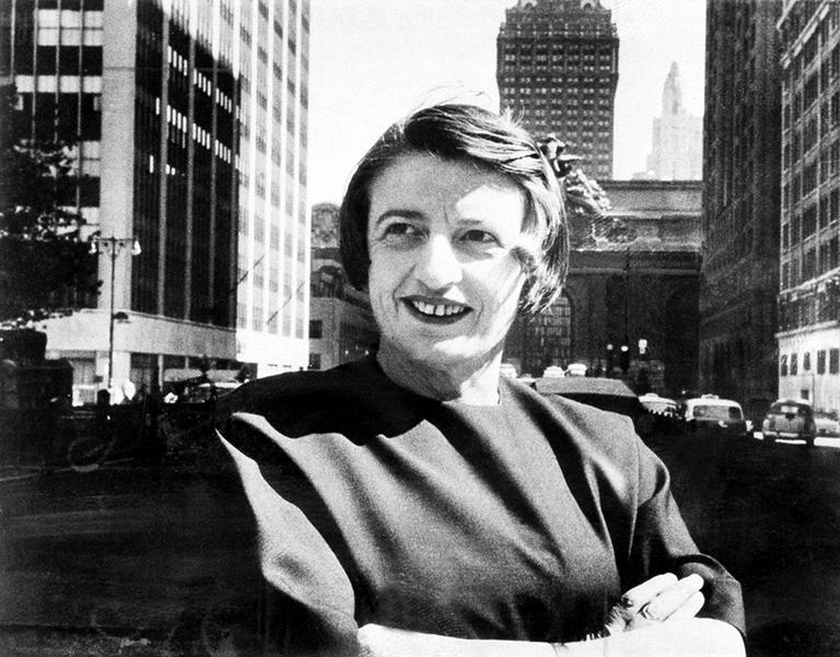 Ayn Rand, Russian-born American novelist, in New York City, 1962. (AP)