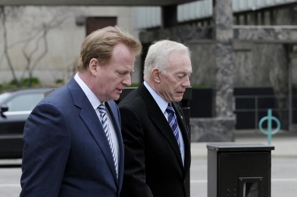 Is it possible for NFL Commissioner Roger Goodell (l) and Dallas Cowboys owner Jerry Jones to love the game of football as much as those who play it? (AP)