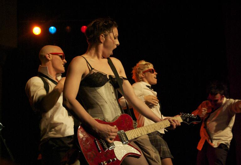 Amanda Palmer performs with The Danger Ensemble in Pittsburgh. (Matthew Matheny/Flickr)