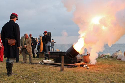 A reenactor fires a mortar at Fort Johnson, near Fort Sumter, to commemorate the moment the first shots of the Civil War were fired 150 years ago in Charleston, S.C. (AP)