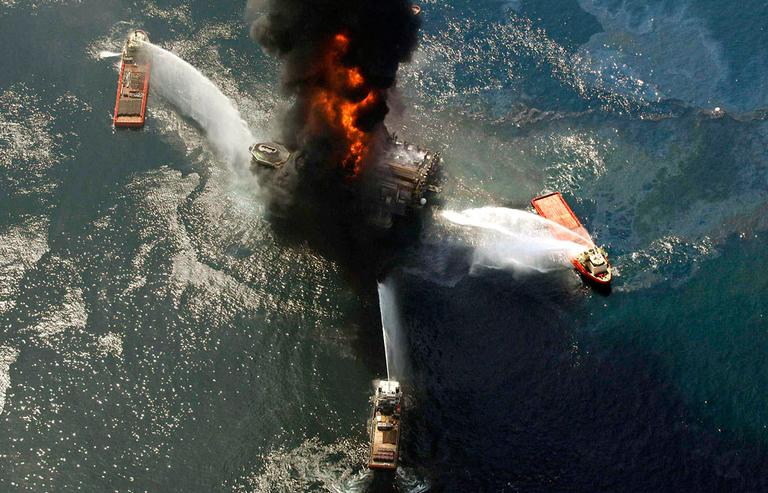 April 21, 2010, file photo of the Deepwater Horizon oil rig burning after an explosion in the Gulf of Mexico. (AP)