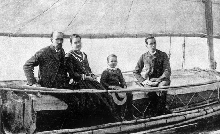 Slocum sailing The Liberdade, a boat he built, with wife Henrietta and sons Garfield and Victor. (Courtesy Knopf/The New Bedford Whaling Museum)