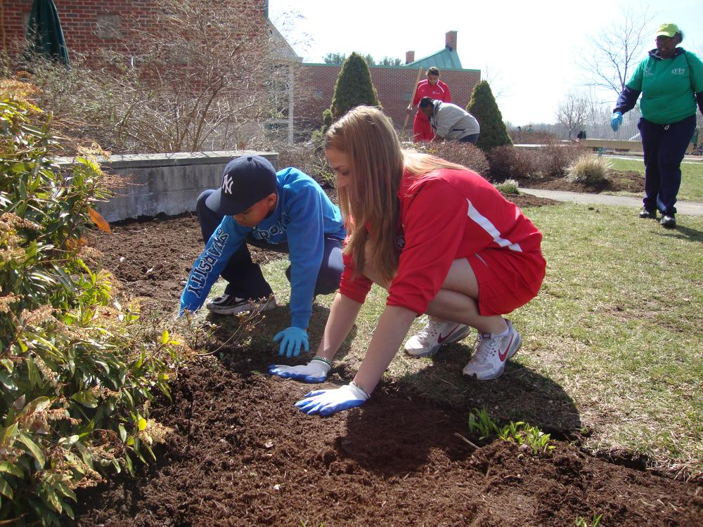 A clean-up project at the University of Hartford. (Photo courtesy of Wendy Knight)