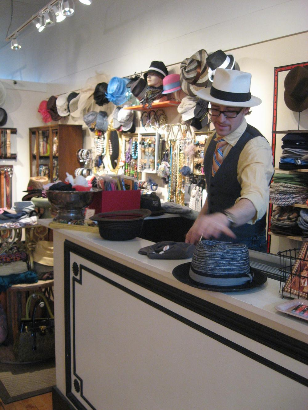Salmagundi, a hat store in Jamaica Plain owned by Jessen Fitzpatrick, has done brisk business leading up to the royal wedding. (Curt Nickisch/WBUR)