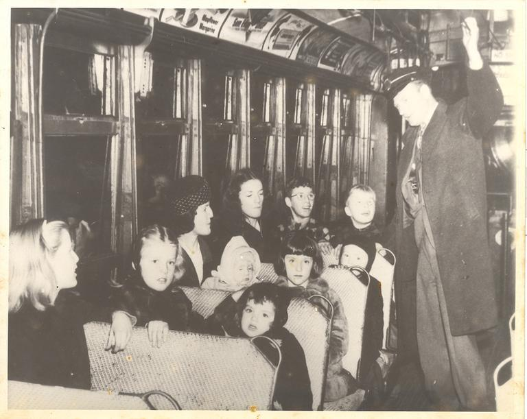 The Kilroy family in the trolley car they won. Click to enlarge. (Courtesy James Kilroy)