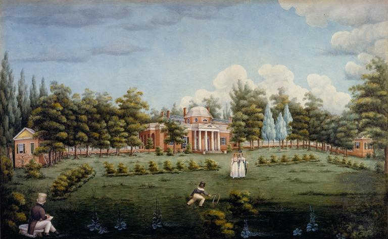 Thomas Jefferson's Monticello, West Front and Garden, painting by Jane Braddick Peticolas. Courtesy of Thomas Jefferson Foundation, Monticello