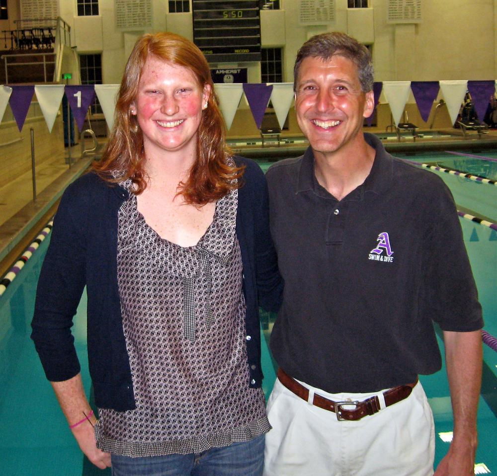 Kendra Stern and Amherst College Men's and Women's Swimming Coach Nick Nichols have had a lot to smile about during Stern's career. (Photo by Doug Tribou)