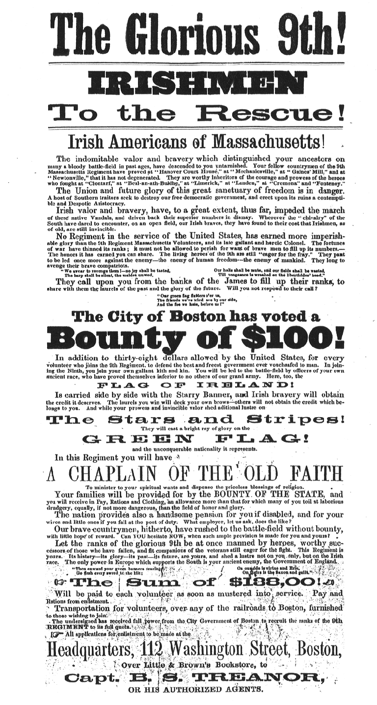 Posters exhorted men of the Commonwealth to join Union forces. Click to enlarge.