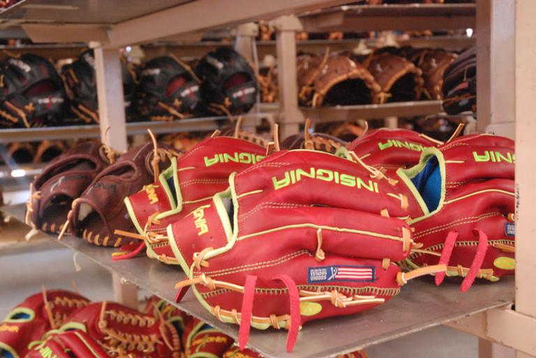 Gloves waiting to be shipped at the Insignia factory (Jesse Costa/WBUR)