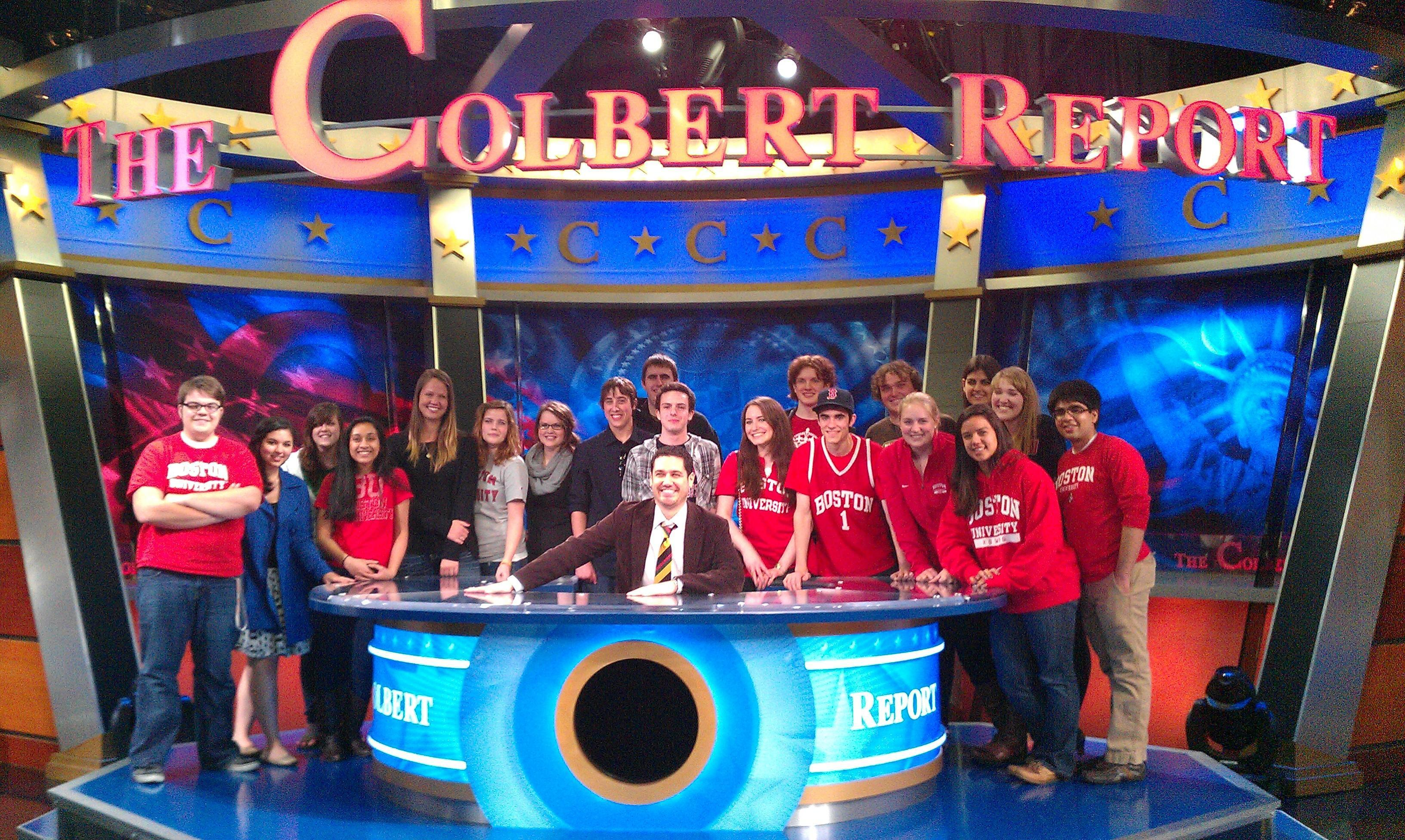 "Boston University Prof. Michael Rodriguez, seated, and his class at a recent taping of ""The Colbert Report"" (Courtesy)"