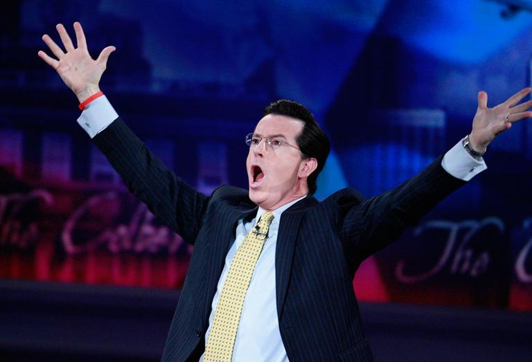 """Stephen Colbert, host of """"The Colbert Report,"""" is seen on the set at the University of Pennsylvania in 2008. (AP)"""