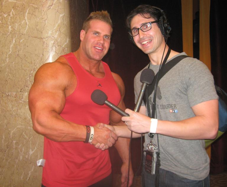 Jay Cutler, and his gigantic arms, with Radio Boston's Adam Ragusea. (Courtesy Adam Ragusea)