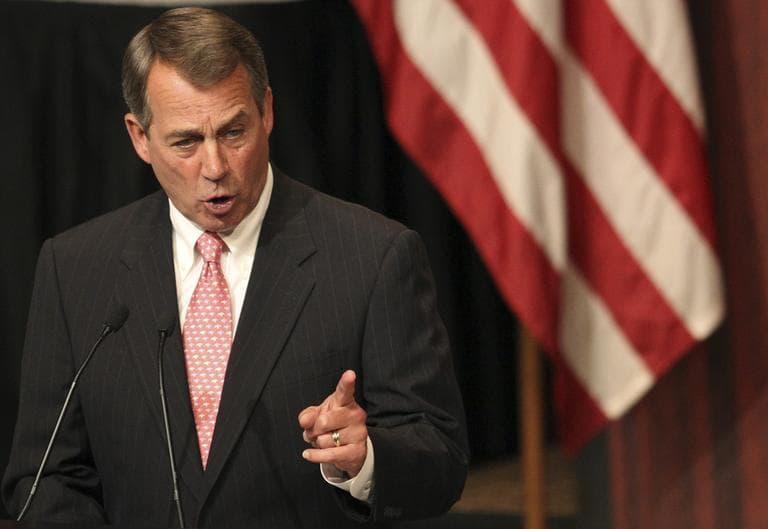U.S. House Speaker John Boehner, (R-OH) addresses the Economic Club of New York in New York, Monday. (AP)