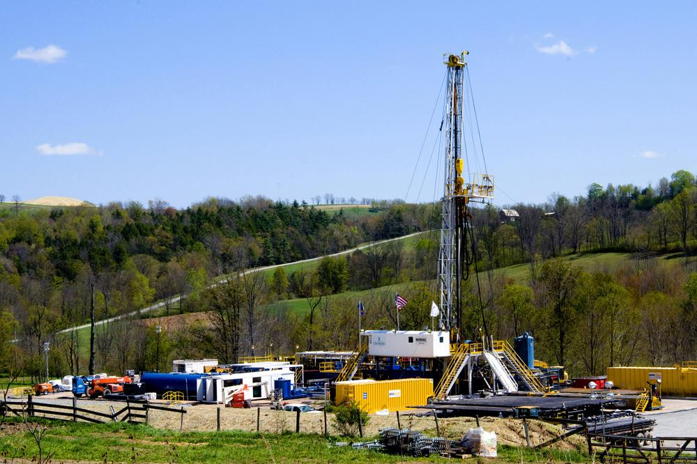 A Chesapeake Energy natural gas well site near Burlington, Pa. in Bradford County Friday. (AP)