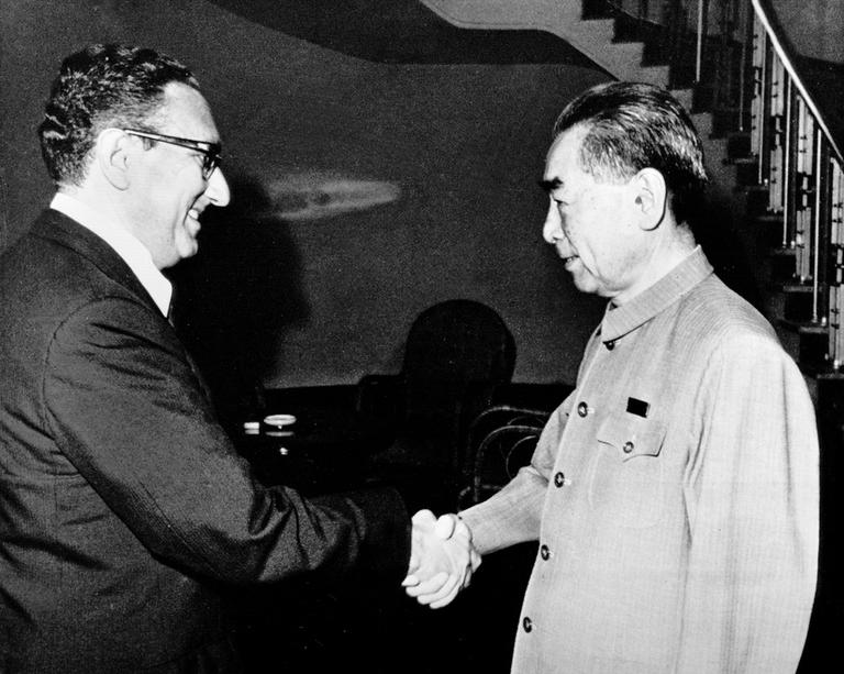 Dr. Henry Kissinger, then-Presidential National Security Adviser, with Chinese Premier Zhou Enlai of the People's Republic of China in Beijing, China, 1971. (AP)