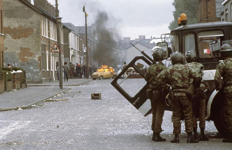British troops clash with demonstrators in Belfast, Northern Ireland's troubled capital city, May 1981. (AP)