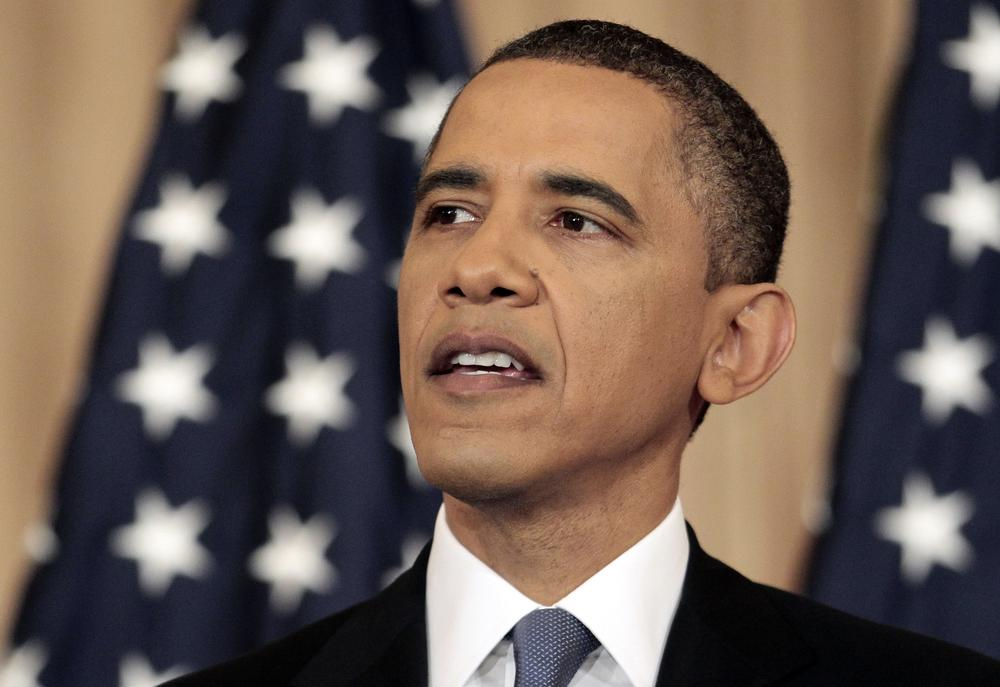 President Barack Obama delivers a policy address on events in the Middle East at the State Department in Washington, Thursday. (AP)