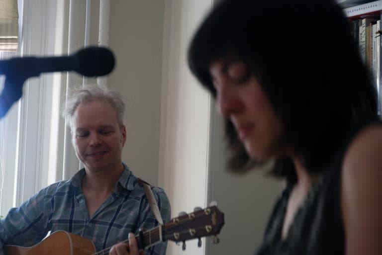 Damon & Naomi in their living room, which doubles as a recording studio. (Andrea Shea/ WBUR)