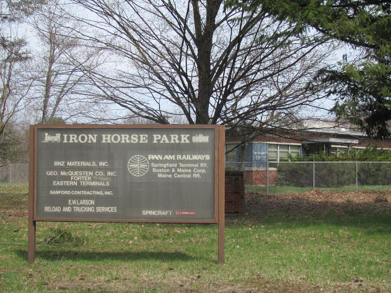 The entrance to the old Iron Horse Park in North Billerica, Mass. (Jenna Ebersol/NECIR)