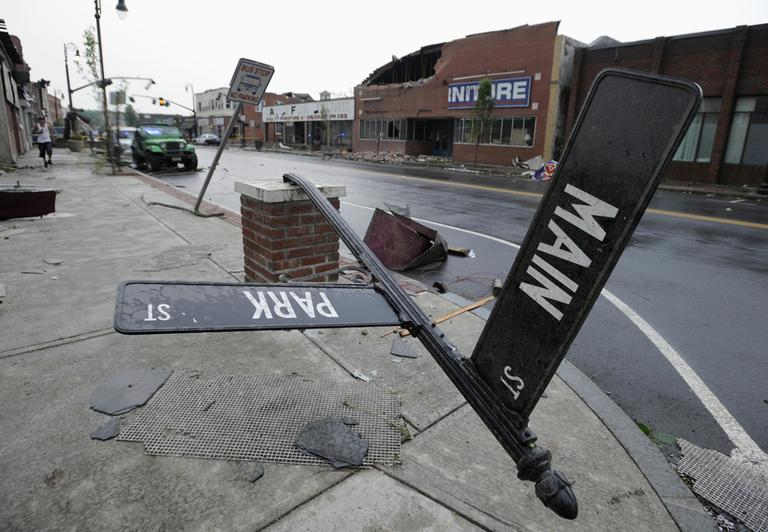 A tornado ripped through downtown Springfield Wednesday. (AP)