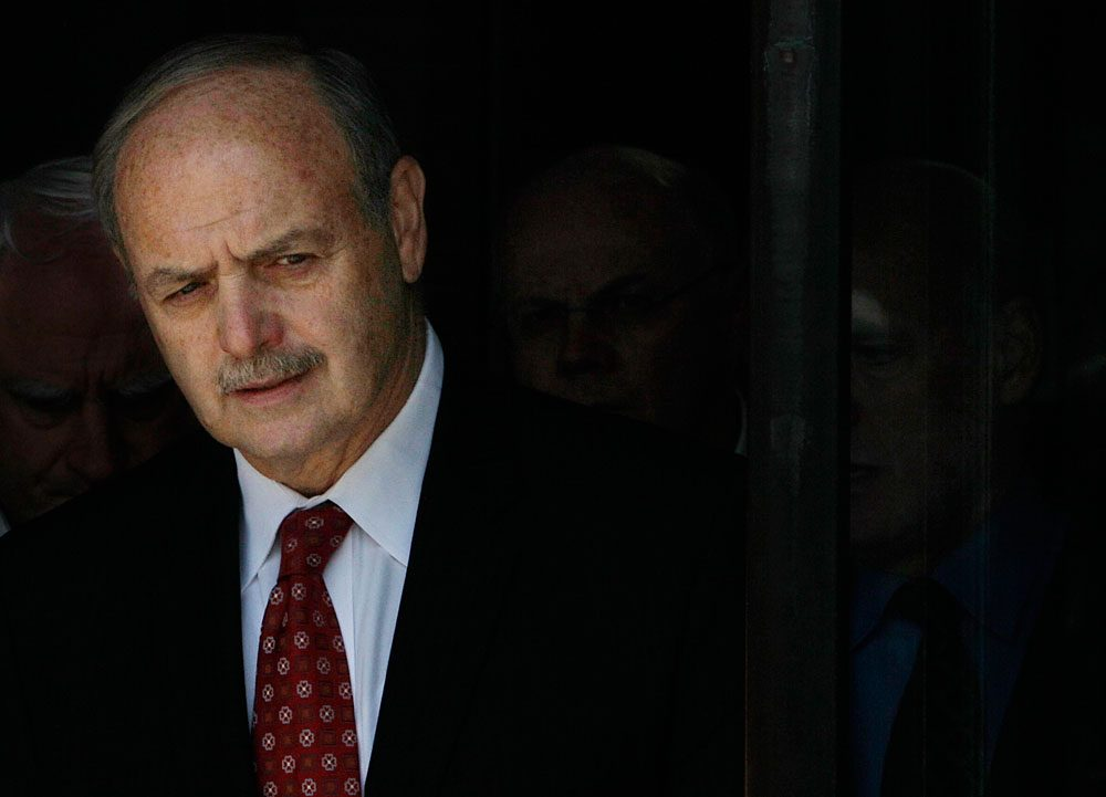 Former Speaker Salvatore DiMasi leaves federal courthouse in Boston after being convicted on corruption charges Wednesday. (AP)