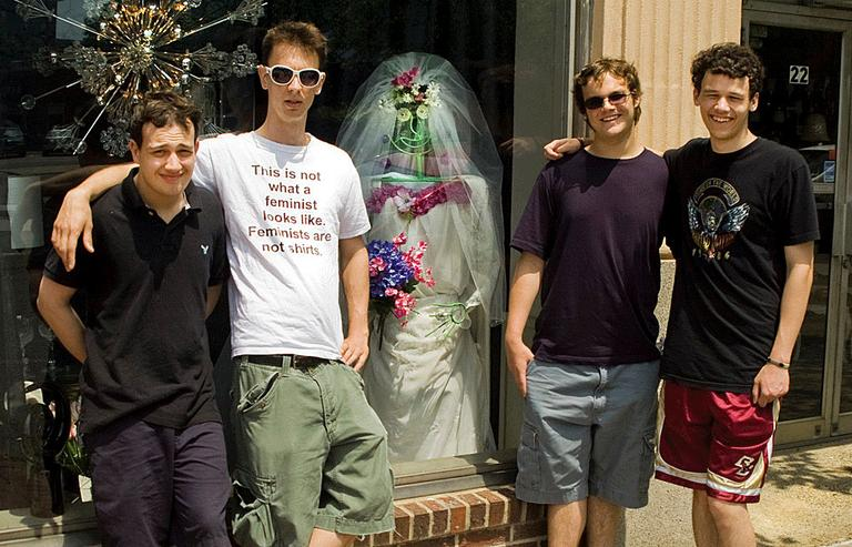 """The four members of Asperger's Are Us, from left to right: Ethan Finlan, Noah Britton, """"New"""" Michael Ingemi, and Jack Hanke. (Courtesy Noah Britton)"""
