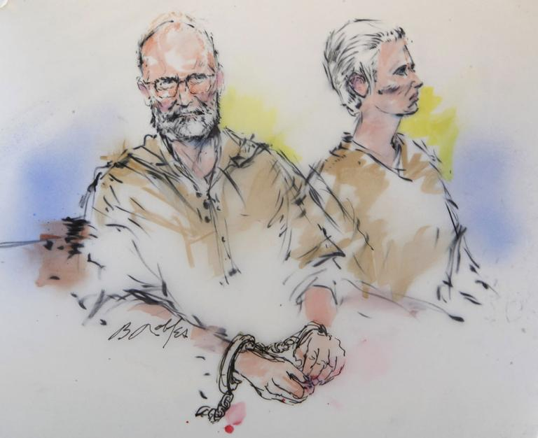 In this courtroom sketch, Bulger and Grieg are shown during their arraignment in Los Angeles. (AP)
