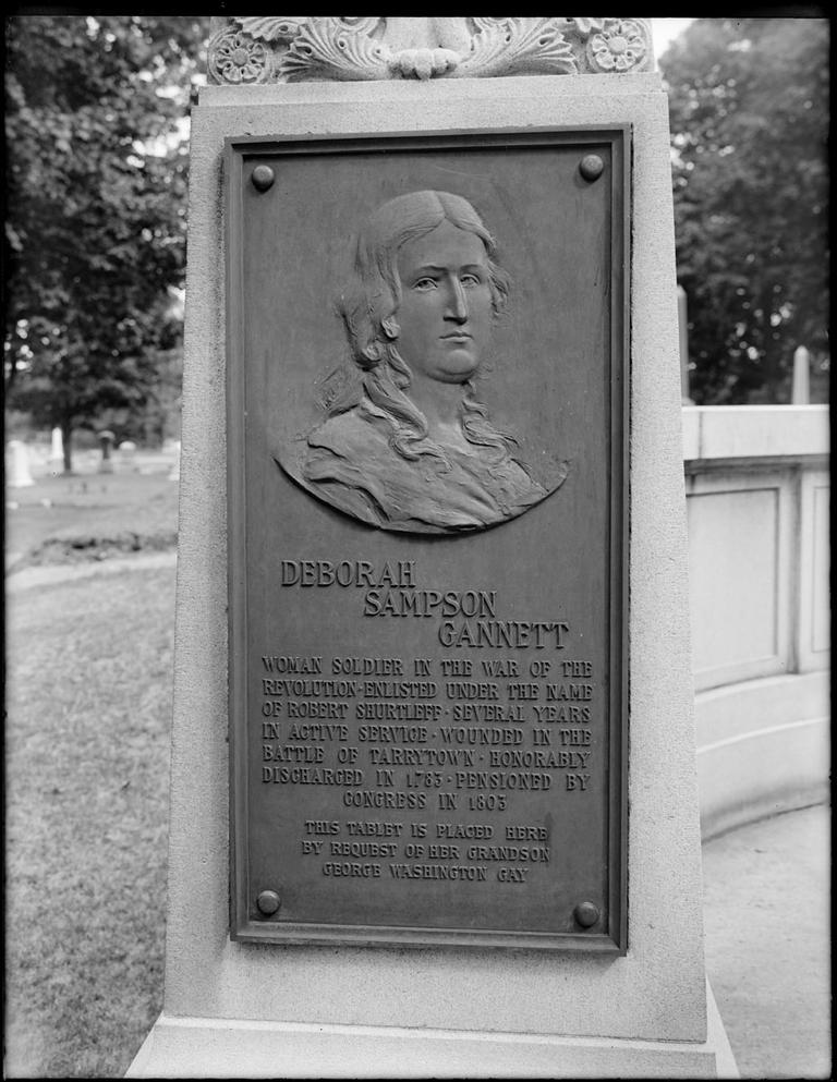 The tombstone of Deborah Sampson Gannett, who is thought to be the first woman to fight actively as a member of the U.S. military, rests in Sharon. (Mr. Ducke/Flickr)