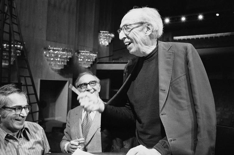 Composer Aaron Copland, right, in Los Angeles in 1976 (AP)