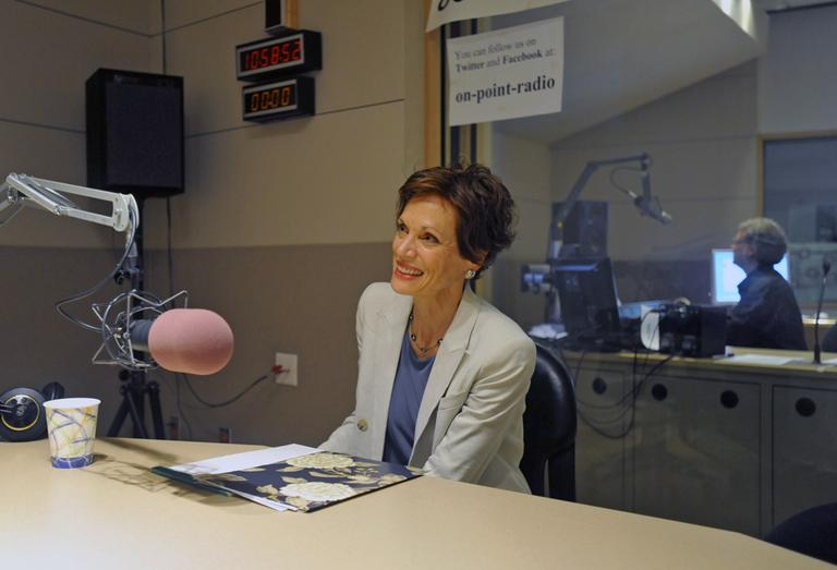 """Deborah Valenze, author of """"Milk: A Local And Global History,"""" in studio and On Point. (Alex Kingsbury/WBUR)"""