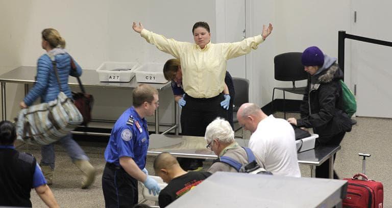 A passenger undergoes a TSA pat-down at Seattle-Tacoma International Airport in Seattle. (AP)
