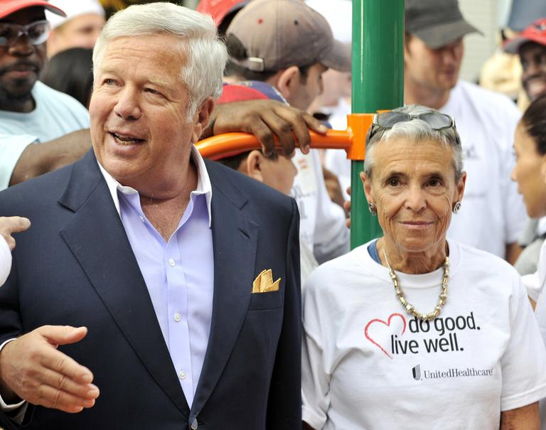 Robert and Myra Kraft mark the opening of a Boys and Girls Club playground in Waltham in 2010. (AP)