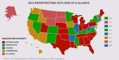 2012 Redistricting outlook at a glance (Photo Courtesy of The Cook Political Report)