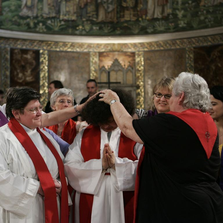Members of the Women's Ordination Conference celebrate a mass at the Anglican Church Rome. Groups that have long demanded that women be ordained Roman Catholic priests took advantage of the Vatican's crisis over clerical sex abuse to press their cause. (AP)