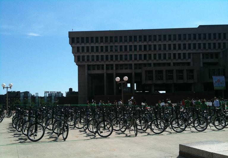 Hundreds of bikes were set-up outside Boston's City Hall before Thursday's Hubway launch. (Kimberly Adams/WBUR)