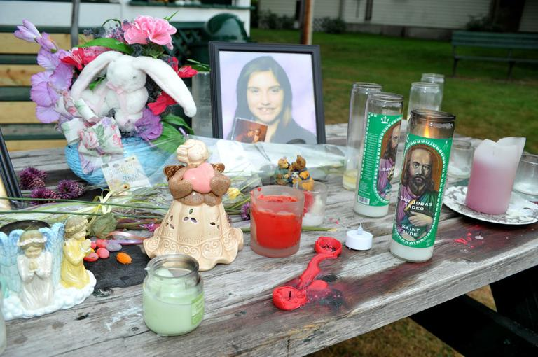 A memorial for Celina Cass, 11, is seen Tuesday in Stewartstown, N.H. (AP)