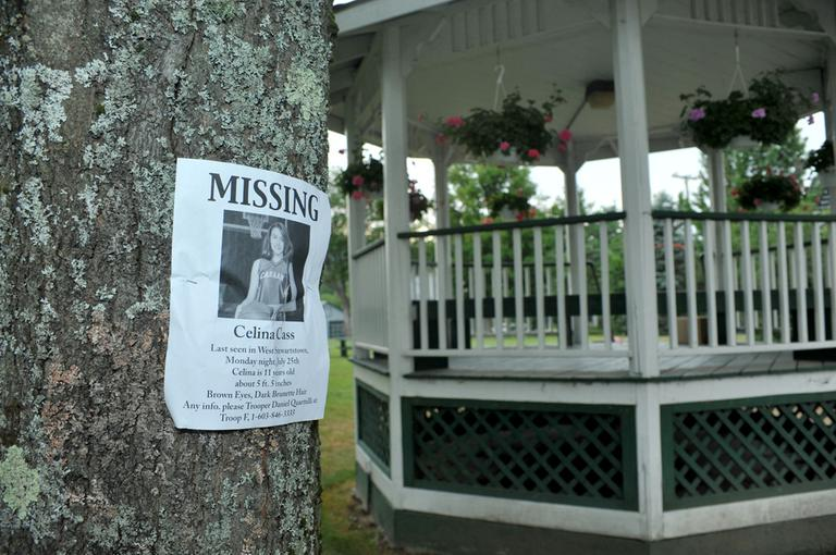 Before 11-year-old Celina Cass was found in a river near her home Monday, neighbors posted her picture in the town park in an effort to look for leads. (AP)