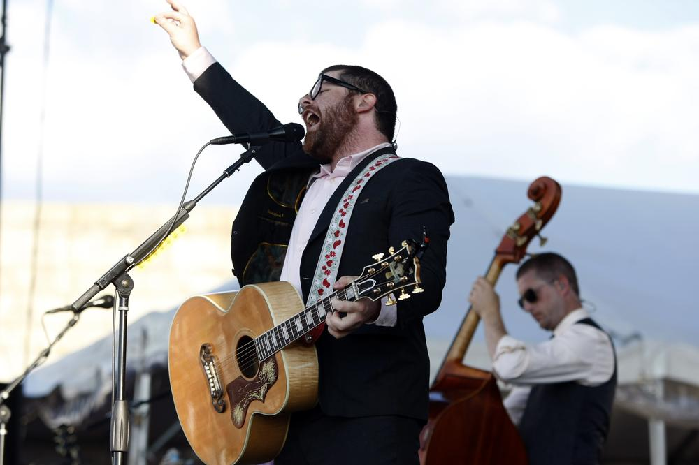 The Decemberists performs at the Newport Folk Festival on Saturday. (AP)
