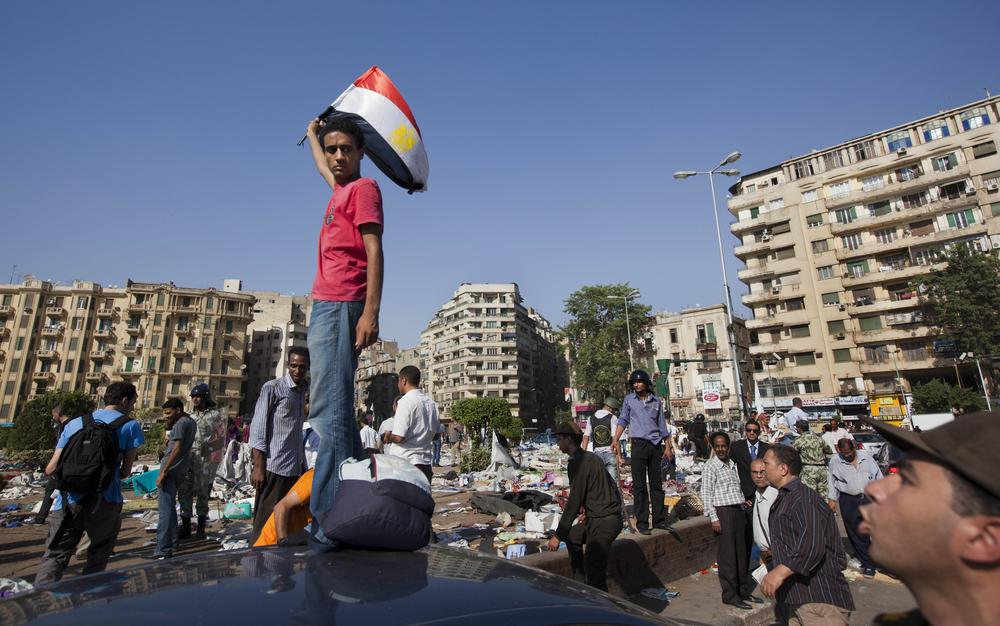Egyptian troops tore down the protesters encampment in Tahrir Square in downtown Cairo, Egypt Monday Aug. 1, 2011. (AP)