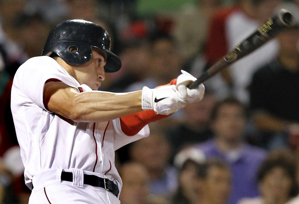 Boston Red Sox's Jacoby Ellsbury follows through on a home run in the ninth inning to give the Red Sox a 4-3 win over the Cleveland Indians on Wednesday. (AP)
