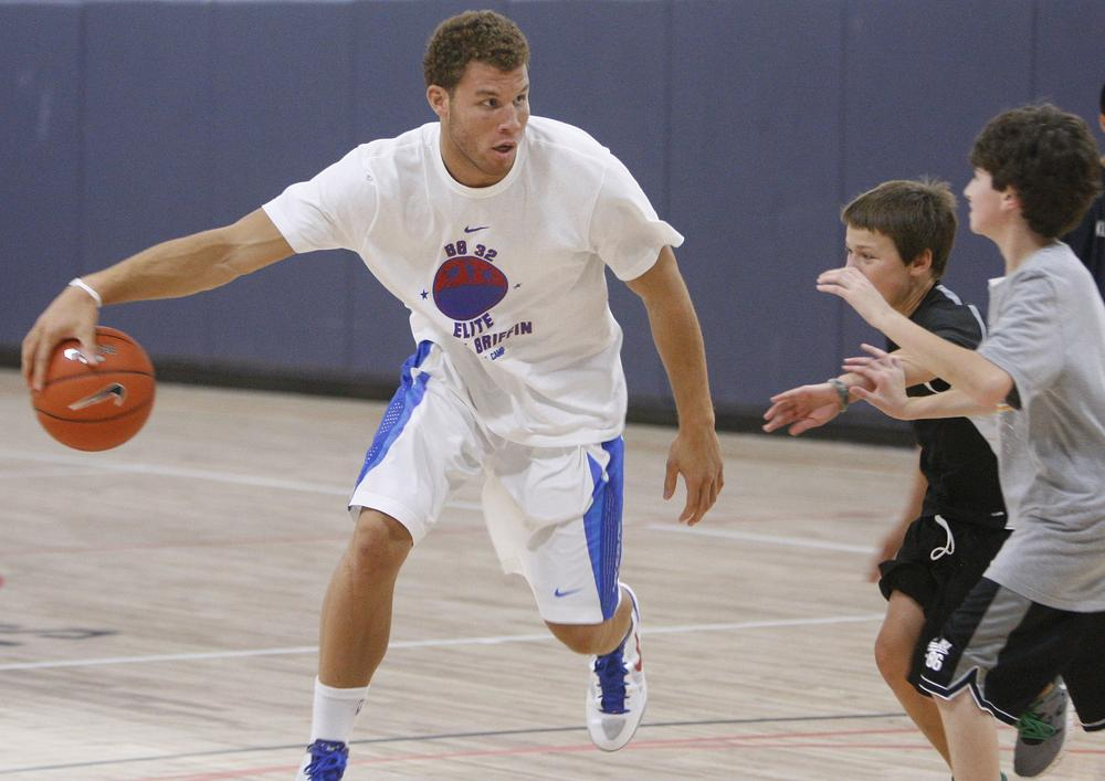 Los Angeles Clippers' Blake Griffin at his youth basketball camp in Oklahoma City this week.  Griffin is also taking up surfing during the NBA lockout. (AP)