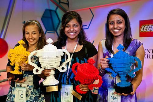 Winners of the first Google Science Fair (from left to right): Lauren Hodge, Shree Bose and Naomi Shah. (Courtesy of The Official Google Blog)