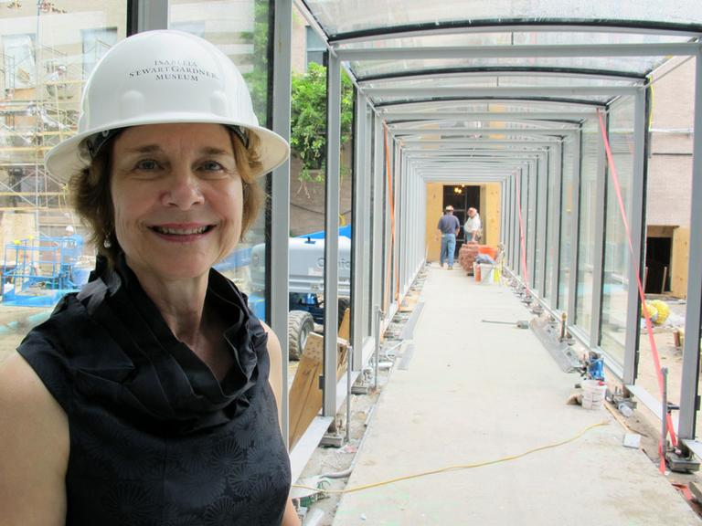 Isabella Stewart Gardner Museum Director Anne Hawley, in the nearly-completed corridor (Andrea Shea/WBUR)