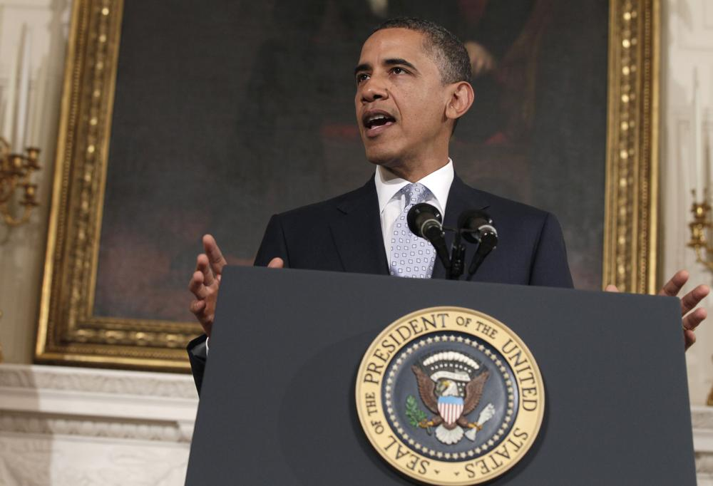 President Barack Obama speaking in the State Dining Room of the White House in Washington. (AP)