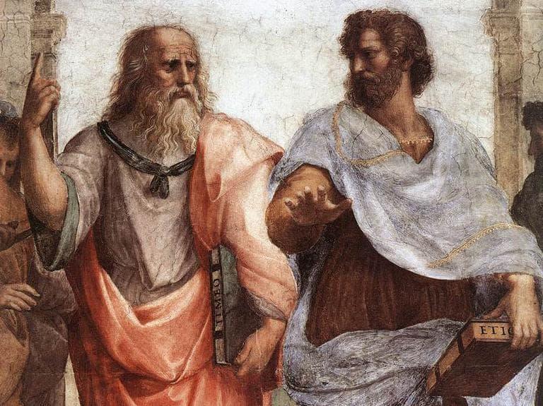 """Plato and Aristotle in Raffaello Sanzio's """"The School of Athens"""" (Creative Commons)"""