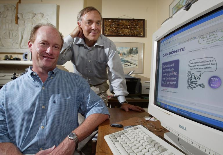 Carbonite co-founders, chief technology officer Jeff Flowers, left, and chief executive officer David Friend (AP)